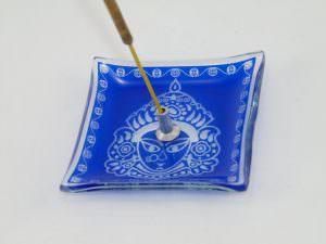 Incensário em Vidro Buda - Azul