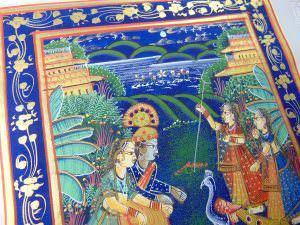 Pintura clássica Rajasthani em seda