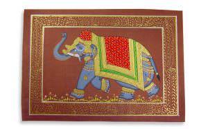 Pintura Rajasthani em seda - Elefante