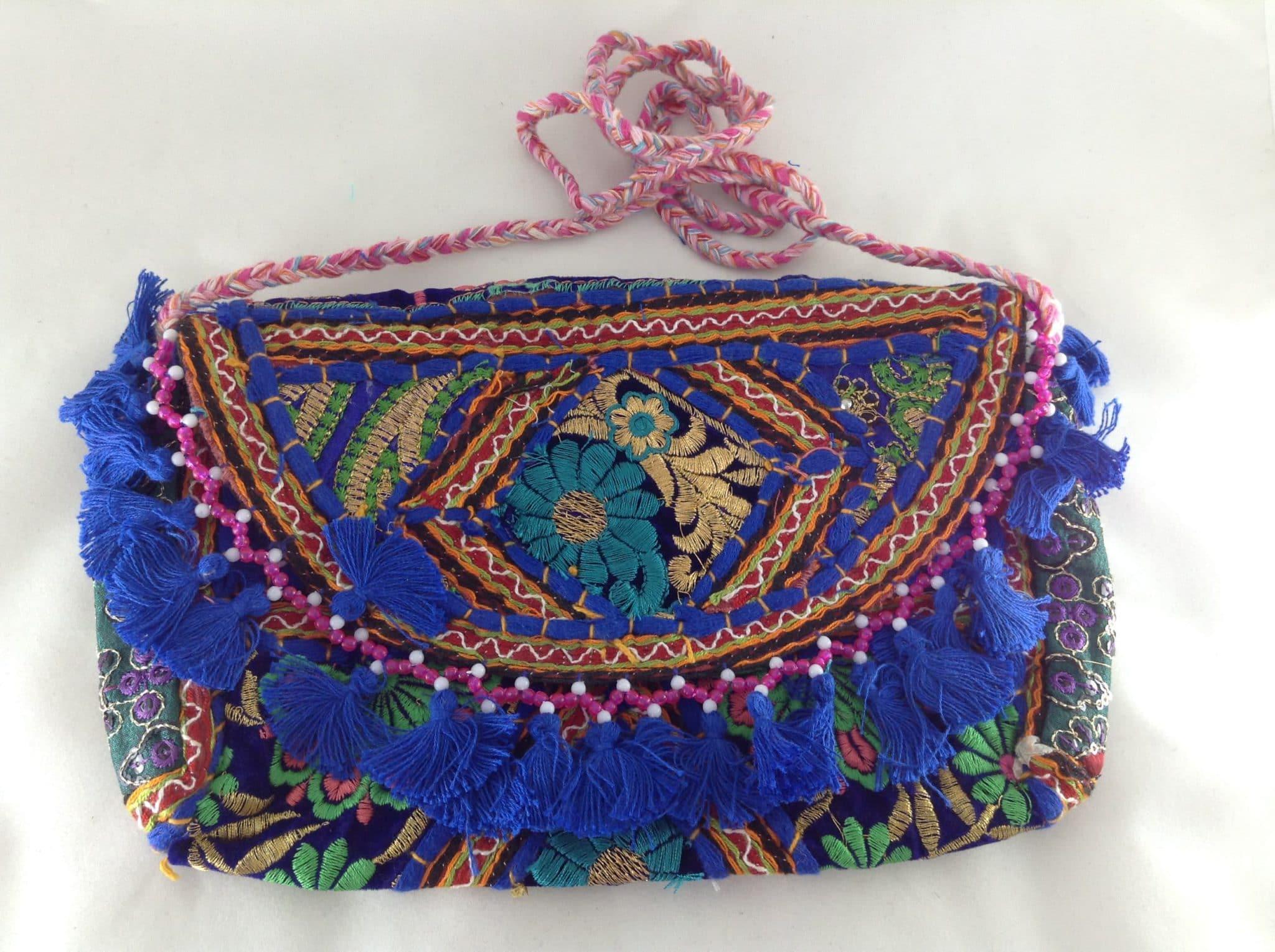 Bolsa De Mão Azul Royal : Bolsa indiana banjara bordada a m?o azul royal