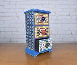 Mini gaveteiro indiano de madeira