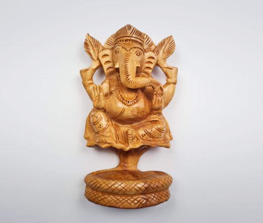 estátua de Ganesha esculpido de madeira 15cm