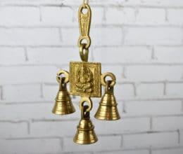 Pendente com 3 sinos de bronze do Deus Ganesha