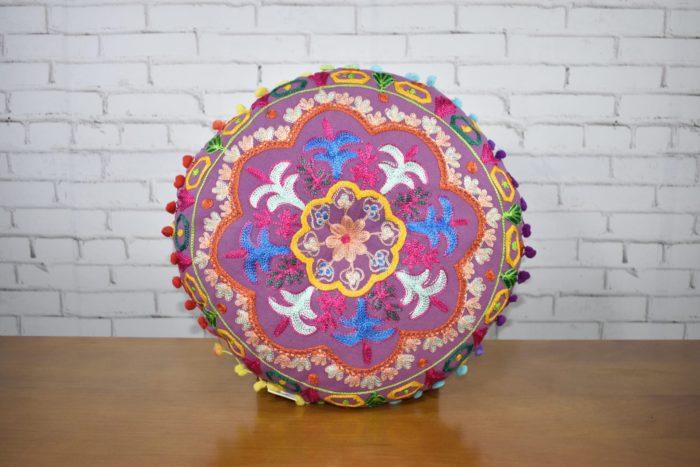 almofada indiana futon redonda rosa