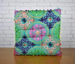 almofada indiana futon quadrada turquesa