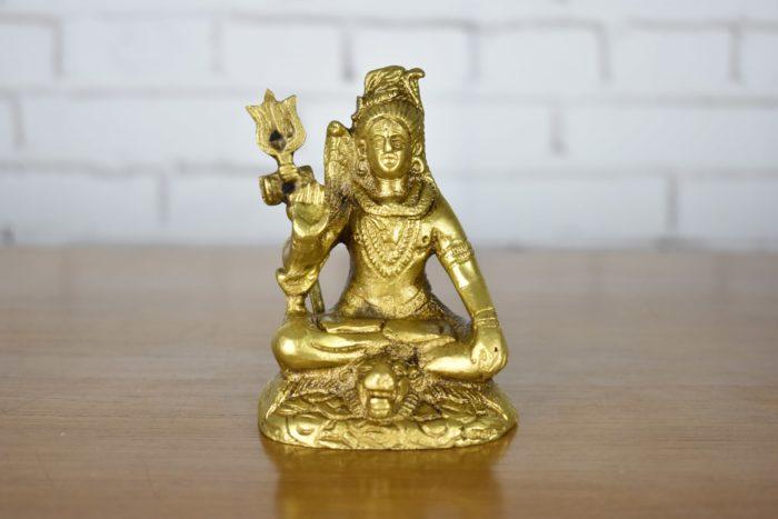 Estátua de Lord Shiva sentado em bronze 10cm