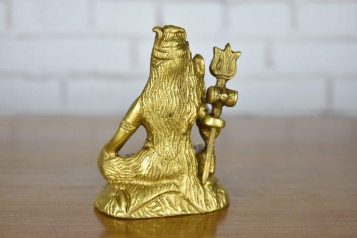 Estátua de Lord Shiva sentado em bronze 10cm foto 2