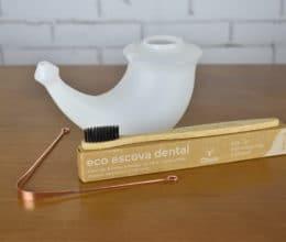 kit higiene diária com jala neti, raspador de lingua de cobre e escova de dente de bambu
