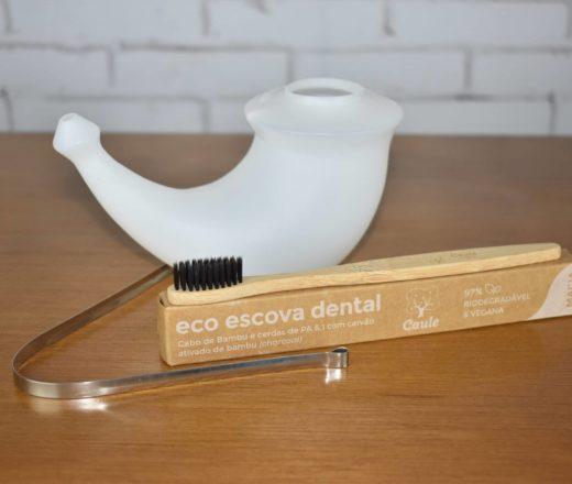 kit higiene diária com jala neti escova de bambu e limpador de lingua