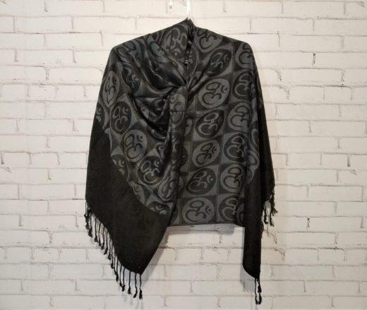 lenço indiano símbolo de Om preto e cinza