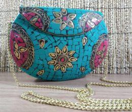 bolsa de metal azul turquesa