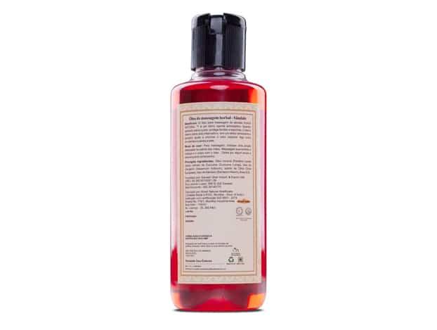 rótulo do óleo para massagem de sândalo KHADI NATURAL