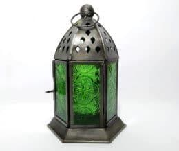 luminária indiana de zinco e vidro a base de vela