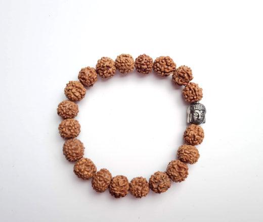pulseira de Rudraksha com berloque de Buda 10mm