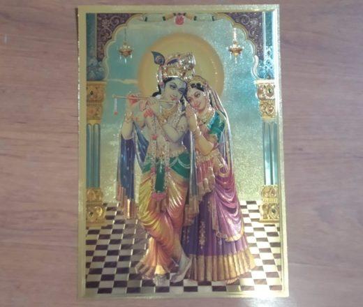 lâmina dourada Radha e Krishna