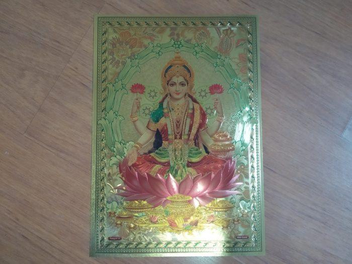 Lâmina dourada Deusa Lakshmi