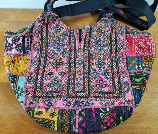 bolsa indiana saco bordada rosa