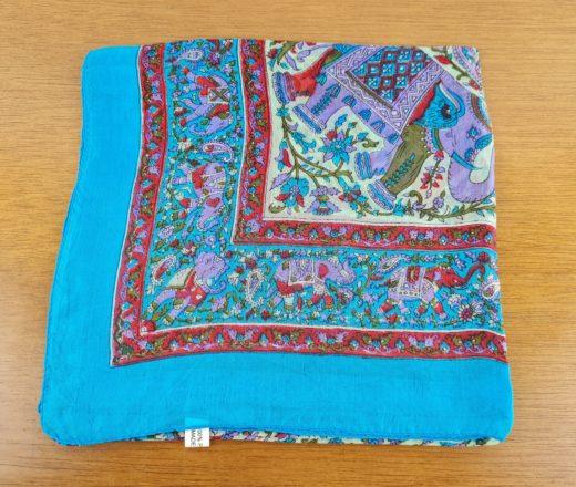 lenço indiano de seda azul