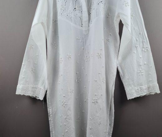 bata indiana túnica longa branca de algodão