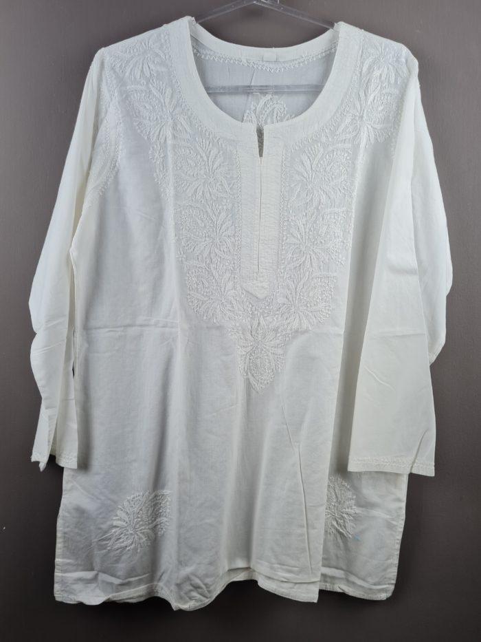 bata indiana branca de algodão