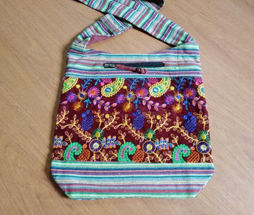 bolsa indiana bordada alça longa