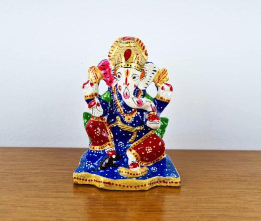 Ganesha de metal pintado a mão, técnica cloisonné