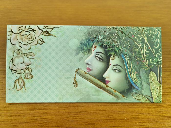 envelope de carta de Krishna e Radha