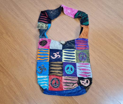 Bolsa indiana saco com símbolos do Om e símbolo da paz