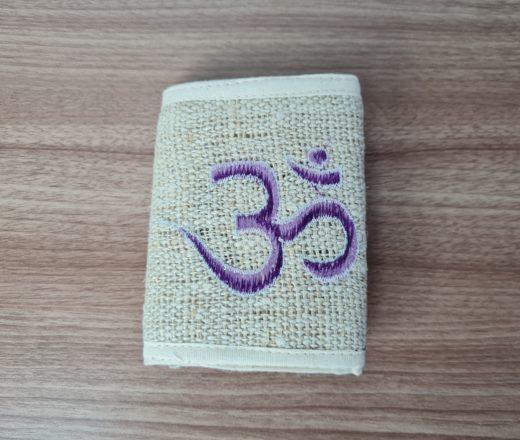 carteira indiana de cânhamo com bordado do Aum (om)