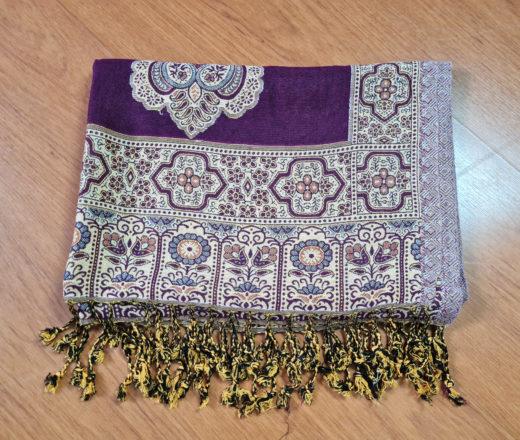 lenço indiano de algodão com viscose roxo e bege