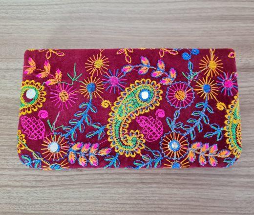 bolsa carteira indiana de veludo bordado