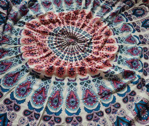 canga indiana rosa e azul