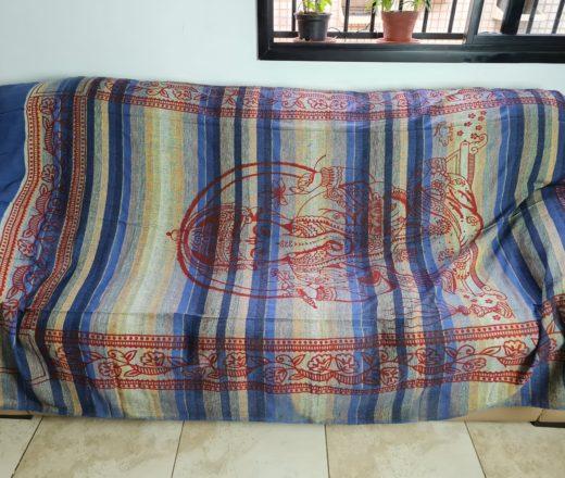 colcha de Ganesha com tecido de algodão rústico