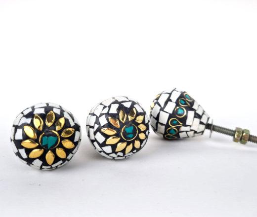 Kit puxadores decorativos de mosaico de pedras indiano