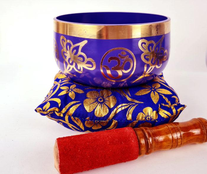tigela tibetana 12cm estampa de Om violeta e dourado