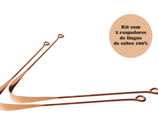 kit com 2 raspadores de língua de cobre 100% fabricados na Índia