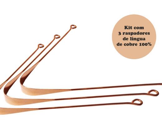 Kit com 3 raspadores de língua de cobre 100% fabricado na Índia