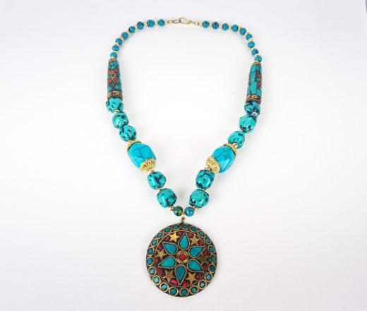 colar tibetano mosaico de pedras turquesa