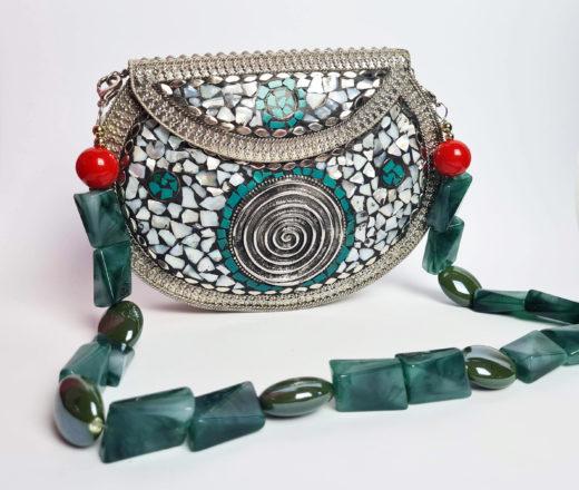 bolsa de metal indiana mosaico de pedras