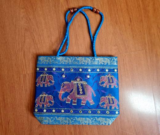 bolsa indiana de elefantes azul