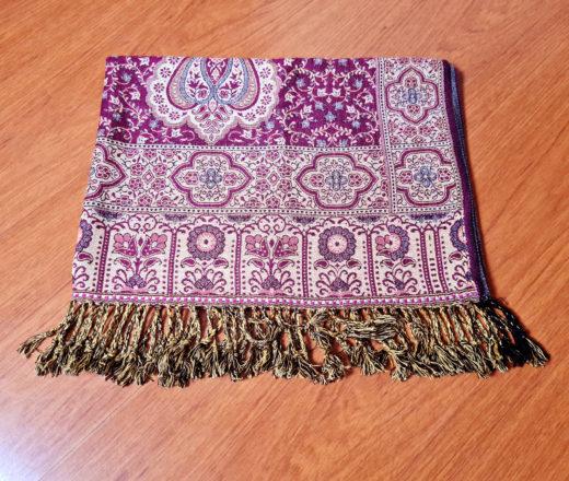 lenço indiano dupla face estampa clássica cor marsala e bege