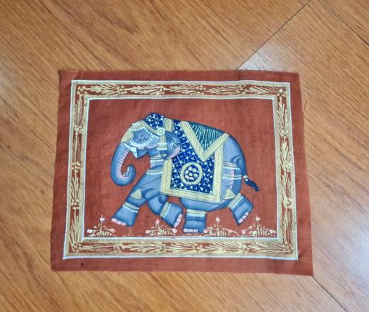 pintura indiana em seda de elefante indiano