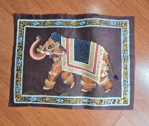 pintura indiana em papel de seda com elefante indiano
