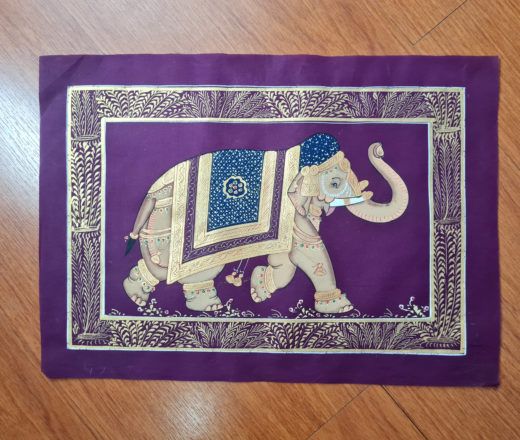 pintura indiana em seda de elefante hindu