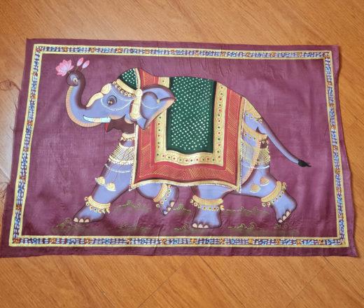 obra de arte hindu pintada a mão com elefante indiano