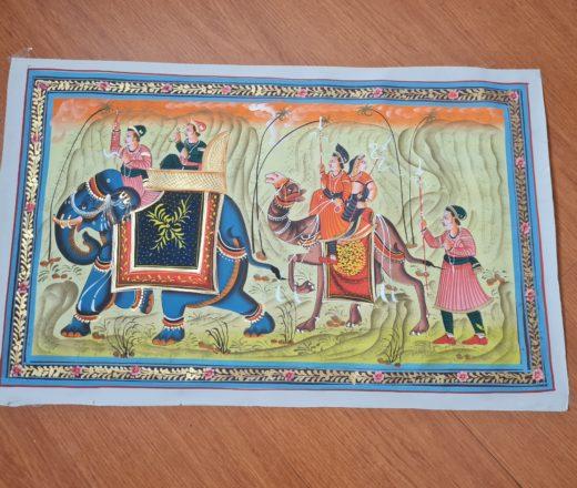 pintura indiana em seda com elefante, camelo e viajantes