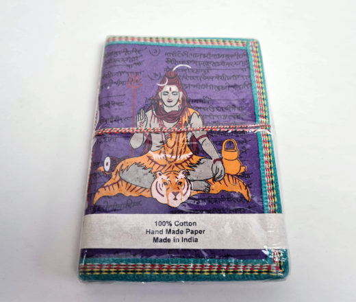caderno indiano artesanal roxo com estampa de Shiva