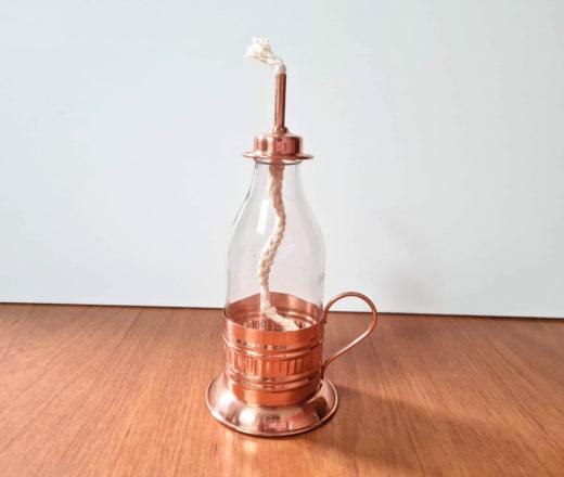 lamparina de cobre com pavio 18cm