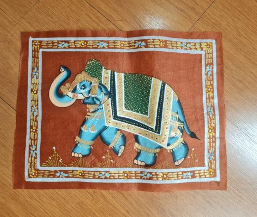 Pintura Rajasthani em seda design de elefante indiano