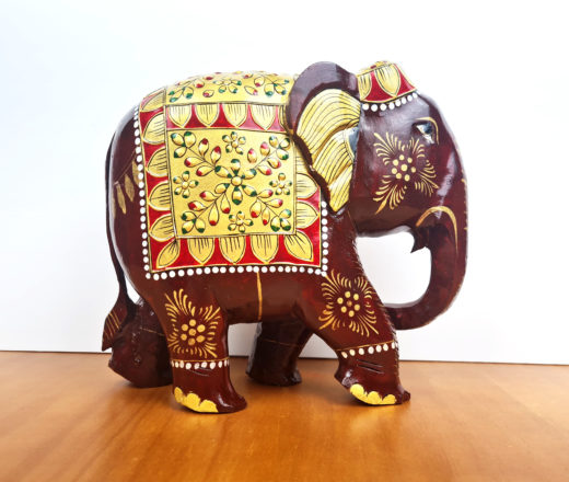 elefante indiano grande de madeira pintado à mão 22cm